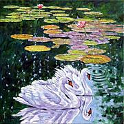Swans... Painting Posters - The Beauty of Peace Poster by John Lautermilch