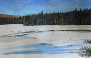 Beaver Pond Paintings - The Beaver Pond In Winter by Stanton Allaben