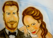 David Beckham Drawings - The Beckhams by Pete Maier