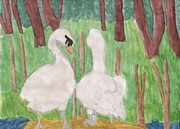 Swans... Drawings - The Beginning by Erika Kennedy