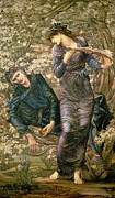Mythology Painting Posters - The Beguiling of Merlin Poster by Sir Edward Burne-Jones
