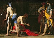 Knelt Paintings - The Beheading of John the Baptist by Massimo Stanzione