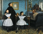 Clock Framed Prints - The Bellelli Family Framed Print by Edgar Degas