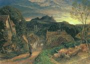 Evening Scenes Painting Posters - The Bellman Poster by Samuel Palmer