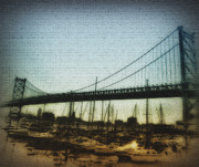 Franklin Posters - The Ben Franklin Bridge Poster by Bill Cannon