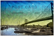 Franklin Metal Prints - The Ben Franklin Bridge Post Card Metal Print by Bill Cannon