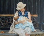 Breastfeeding Paintings - The Bench by Daniela Easter
