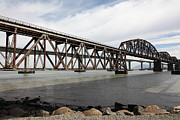Railroads Framed Prints - The Benicia-Martinez Train Bridge in California - 5D18675 Framed Print by Wingsdomain Art and Photography