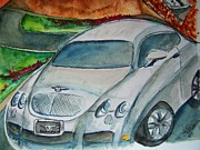 Sportscar Paintings - The Bentley by Elaine Duras