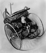 Firsts Posters - The Benz Three-wheeler Made In 1885 Poster by Everett