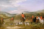 Rural Landscape Framed Prints - The Berkeley Hunt Framed Print by Francis Calcraft Turner