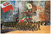 Marching Acrylic Prints - The Bersaglieri Acrylic Print by George Benjamin Luks