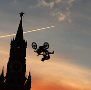 Outlook Posters - The best motocross rider flying in the Kremlin in Moscow Poster by Anastasiia Kononenko