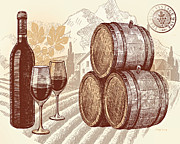 Syrah Prints - The Best Vintage Wine Print by Cheryl Young
