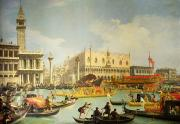 San Marco Framed Prints - The Betrothal of the Venetian Doge to the Adriatic Sea Framed Print by Canaletto