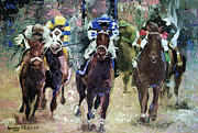 Horses Mixed Media Prints - The Bets Are On Print by Anthony Falbo