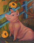 Sunflower Paintings - The Better Life - Pig by Debbie McCulley