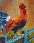 Colorful Rooster Framed Prints - The Better Life - Rooster Framed Print by Debbie McCulley