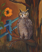 Great-horned Owls Paintings - The Better Life- Owl by Debbie McCulley