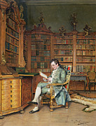 Desk Painting Prints - The Bibliophile Print by Johann Hamza