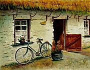 Straw Roof Art - The Bicycle by Karen Fleschler