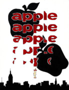 Nyc Skyline Paintings - The Big Apple Rotten Apple by Keith QbNyc