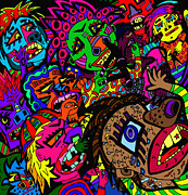 Angry Crowd Prints - The big bad bully -s Print by Karen Elzinga