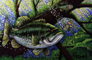 Fish Underwater Painting Originals - The Big Bass by Bob Crawford