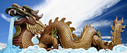 Animal Sculpture Digital Art Posters - The big golden dragon Poster by Anek Suwannaphoom