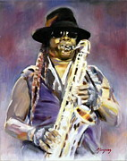 E Street Band Painting Originals - The Big Man by Thomas Marquez