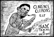 Clarence Clemons Drawings Originals - The Big Man by Yasha Harari