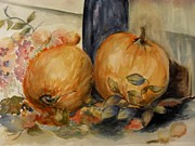 Pumpkins Paintings - The Big Pumpkins by Joan Edge