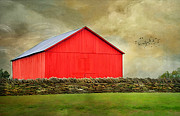 Shed Photo Prints - The Big Red Barn Print by Darren Fisher