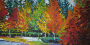 Autumn Trees Painting Prints - The Big Red Tree Print by Lee Ann Shepard