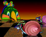 Believe Digital Art - The Big Snail Race by Suzanne Brind Amour