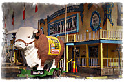 Yellow Building Prints - The Big Texan - IMPRESSIONS Print by Ricky Barnard