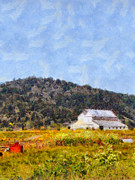 Rural Digital Art - The Big White Barn At Point Reyes California . 7D15933 by Wingsdomain Art and Photography