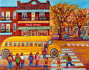 Autumn Scenes Framed Prints - The Big Yellow School Bus Street Scene Paintings Of Montreal Framed Print by Carole Spandau