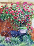 Wine Country. Painting Prints - The Bike at Bistro Jeanty Napa Valley Print by Gail Chandler