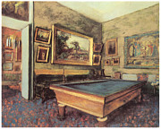 Game Painting Prints - The Billiard Room at Menil-Hubert Print by Edgar Degas