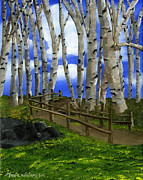 Birch Tree Paintings - The Birch Tree Road by Maria Williams