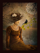 Photomanipulation Photo Prints - The Bird Watcher Print by Marie  Gale