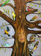 Surreal Landscape Painting Metal Prints - The Bird Whisperer Metal Print by Leah Saulnier The Painting Maniac