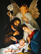 Angel  Artwork Prints - The Birth Of Christ    Feliz Navidad Print by Al Bourassa