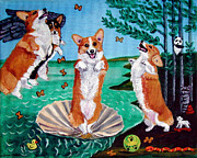 Humor Painting Prints - The Birth of Venus -  Pembroke Welsh Corgi Print by Lyn Cook