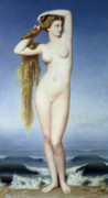 Long Hair Framed Prints - The Birth of Venus Framed Print by Eugene Emmanuel Amaury Duval