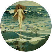 Goddess Birth Art Posters - The Birth of Venus Poster by William Stott