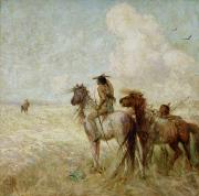 Western Western Art Prints - The Bison Hunters Print by Nathaniel Hughes John Baird