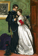 Silk On Canvas Metal Prints - The Black Brunswicker Metal Print by Sir John Everett Millais