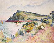 Mediterranean Landscape Framed Prints - The Black Cape Pramousquier Bay Framed Print by Henri-Edmond Cross
